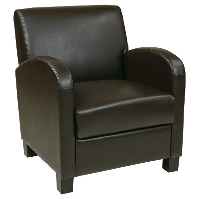 Exceptional Eco Leather Club Chair Brown   Office Star