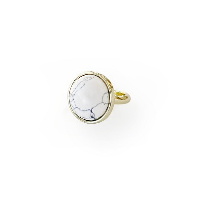 Sanctuary Project Semi Precious White Howlite round Statment Cocktail Ring Gold