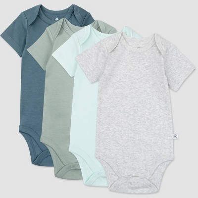 Honest Baby Boys' 4pk Organic Cotton Morning Mountains Short Sleeve Bodysuit - Blue/Green/Gray 3-6M