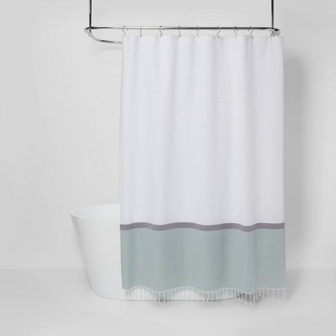 Woven Shower Curtain Green White, Target Bathroom Shower Curtains