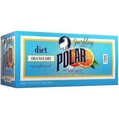 Polar Diet Orange Dry Sparkling Beverage - 8pk/12 fl oz Cans