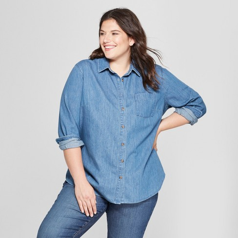 c1682a394c46 Women s Plus Size Textured Denim No Gap Button-Down Long Sleeve Shirt - Ava    Viv™ Medium Wash
