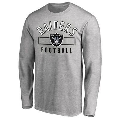 NFL Oakland Raiders Men's Big & Tall Long Sleeve Gray T-Shirt - 6XL