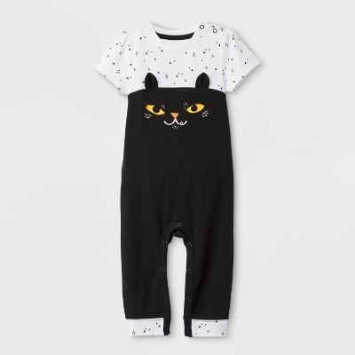Baby Girls' Halloween Cat Short Sleeve Romper - Cat & Jack™ Black/White 0-3M
