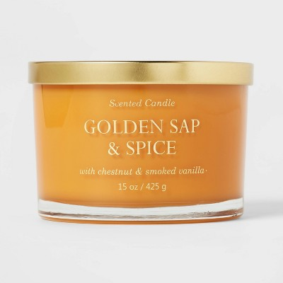 15oz Lidded Glass Jar Solid Mustard 3-Wick Golden Sap and Spice Candle - Opalhouse™