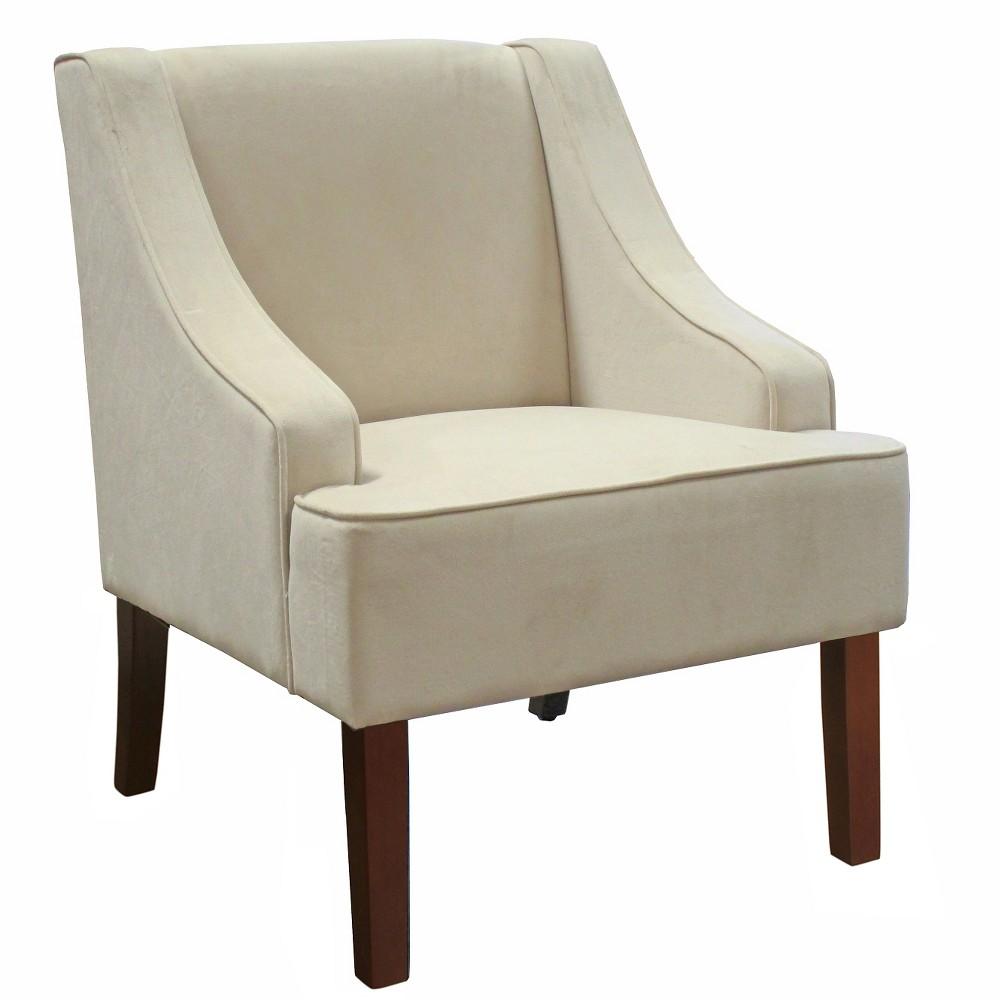 Velvet Swoop Arm Chair - Eggshell - HomePop