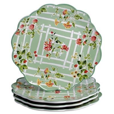 "11.3"" 4pk Earthenware English Garden Dinner Plates - Certified International"