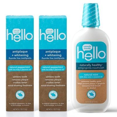 hello Antiplaque + Whitening Fluoride Free Toothpaste Twin Pack + Healthy Antigingivitic Mouthwash