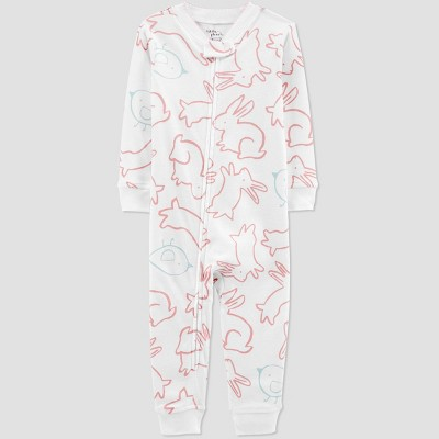 Baby Girls' Bunny Pajama Jumpsuit - little planet organic by carter's White 18M