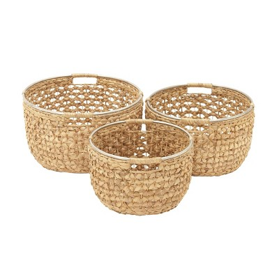 "Olivia & May 15""x17""x19"" Set of 3 Large Round Seagrass Baskets with Handles and Silver Ring Tops Natural"