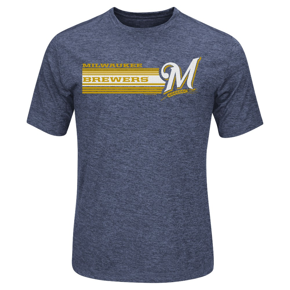 Milwaukee Brewers Men's Heathered Performance T-Shirt Xxl, Blue