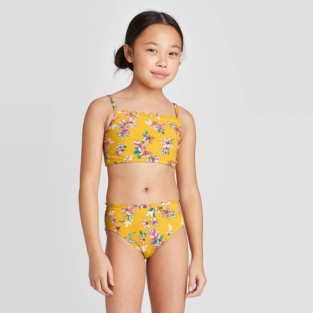 Image of Girls' Floral Bikini Swimsuit Set - art class Yellow M, Girl's, Size: Medium