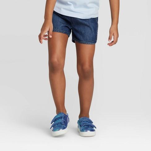 Toddler Girls' Woven Pull-On Shorts - Cat & Jack™ Dark Blue - image 1 of 3