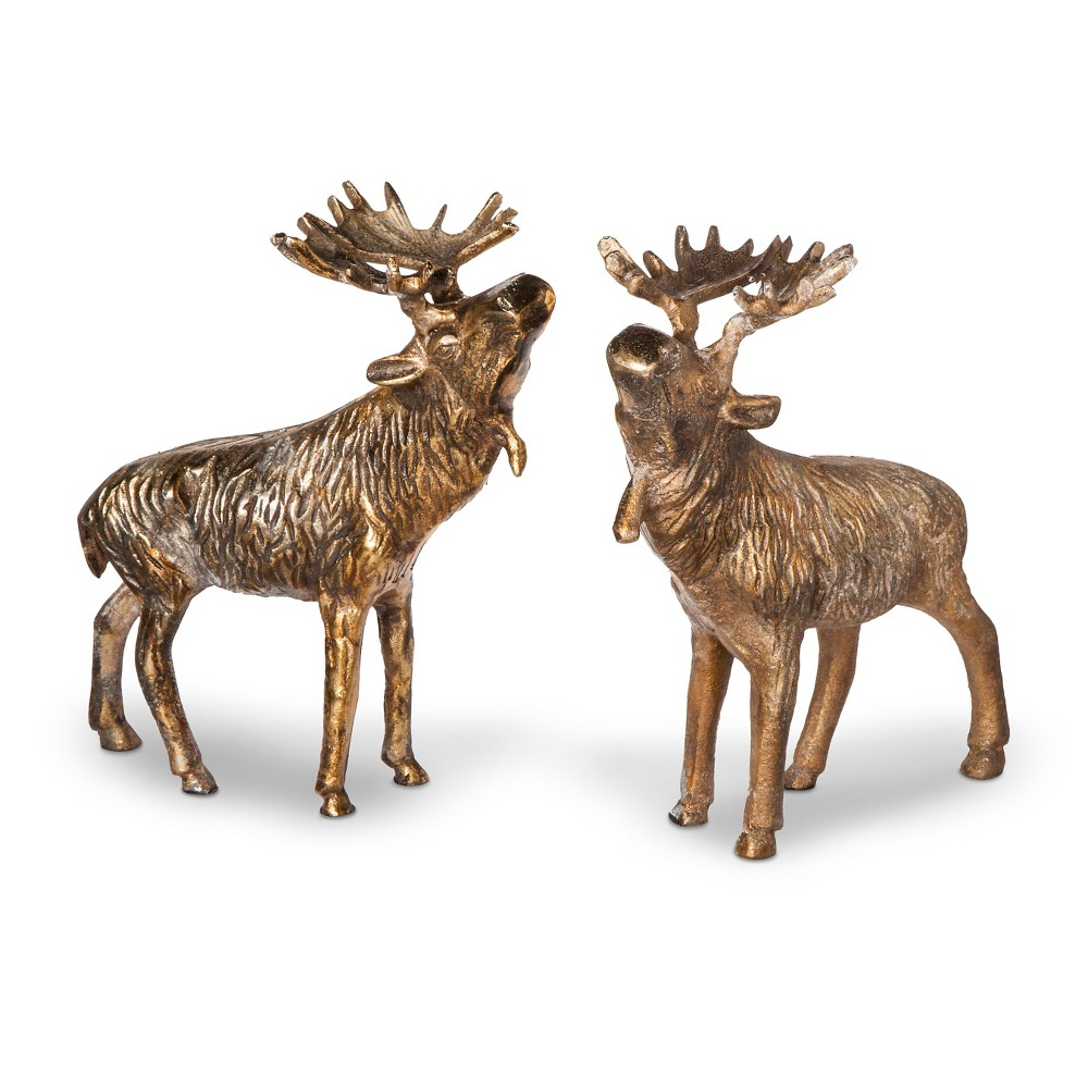 Image of Decorative Bronze Maine Moose Pair - Coffee (Brown)