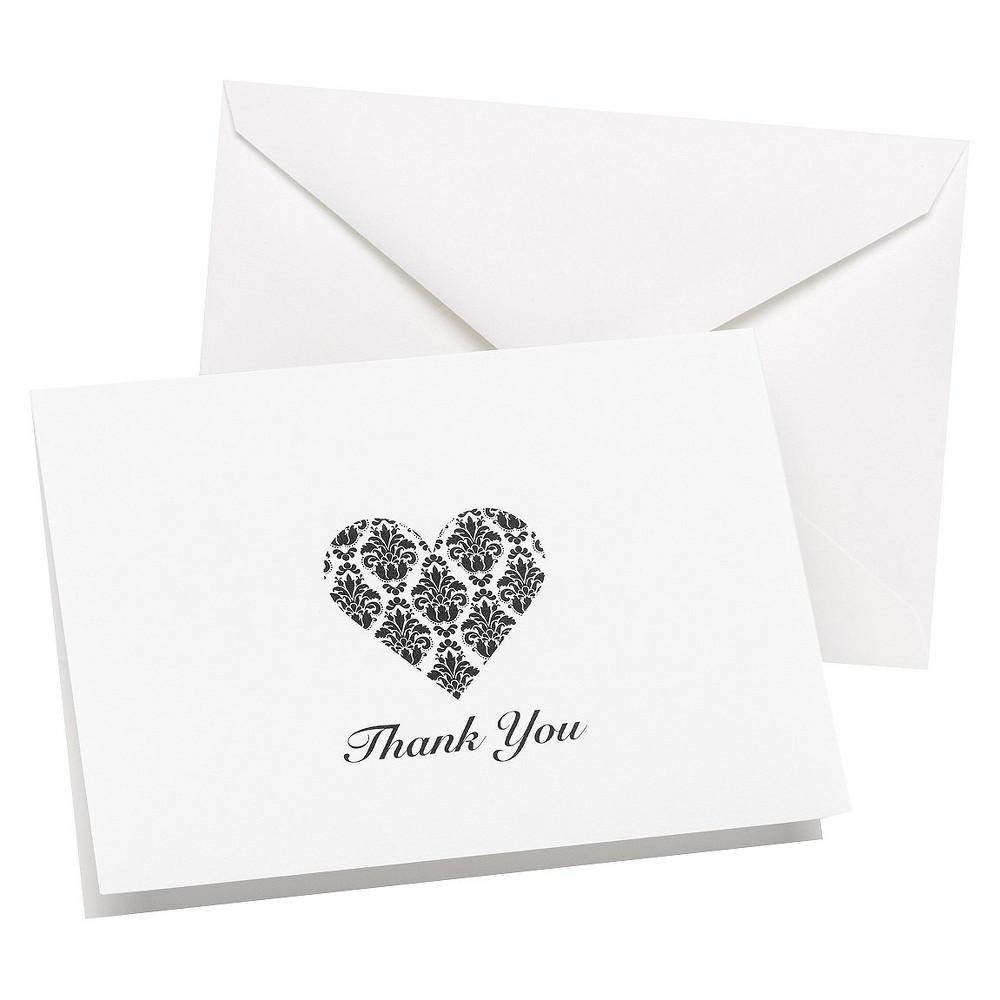 Hortense B. Hewitt Damask Design Shaped Heart Thank You C...