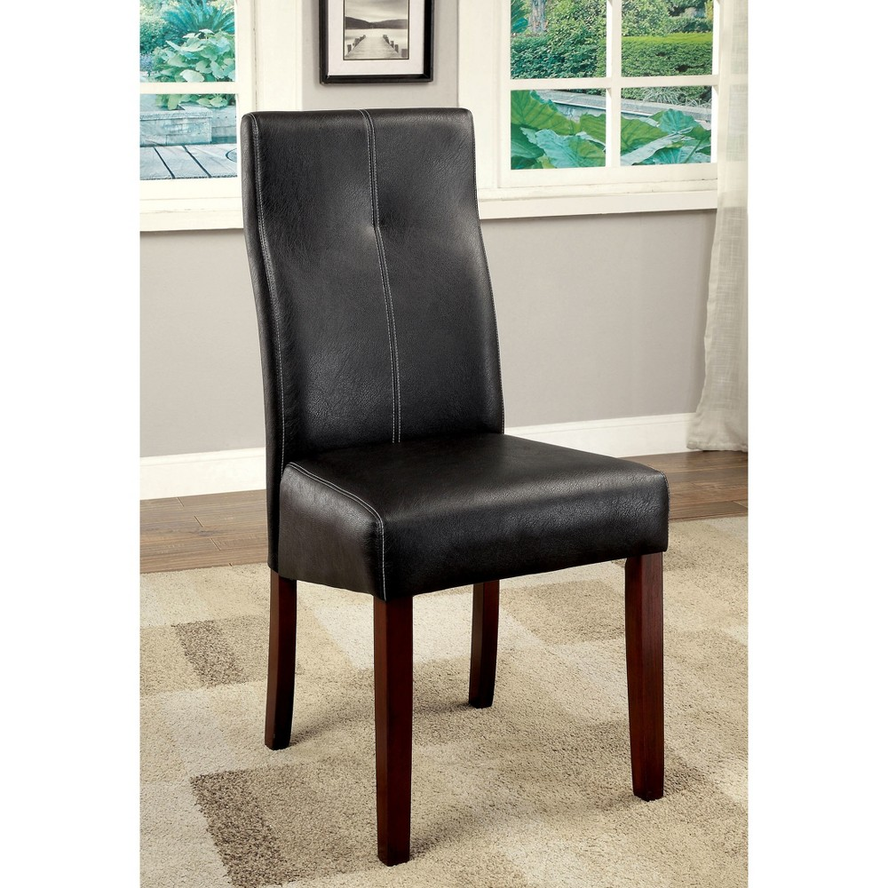 Sun & Pine Black Leatherette Curved Back Side Chair Wood/Brown Cherry (Set of 2)