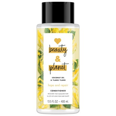 view Love Beauty & Planet Coconut Oil & Ylang Ylang Hope and Repair Conditioner - 13.5 fl oz on target.com. Opens in a new tab.