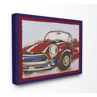 """Blue And Red Vintage Car Oversized Stretched Canvas Wall Art (24""""x30""""x1.5"""") - Stupell Industries"""