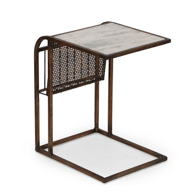 Zeyer Boho Glam Handcrafted Marble Top C-Shaped Side Table with Magazine Rack Natural White/Antique Brass - Christopher Knight Home