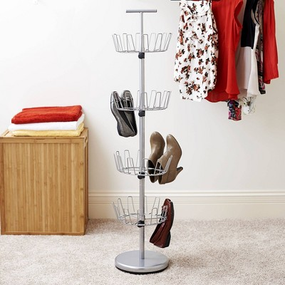 Household Essentials 4 Tier 24 Pairs Revolving Shoe Tree Satin Silver