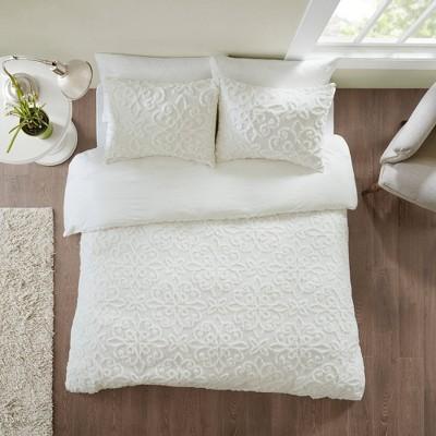 Amber Full/Queen 3pc Tufted Cotton Chenille Duvet Cover Set White