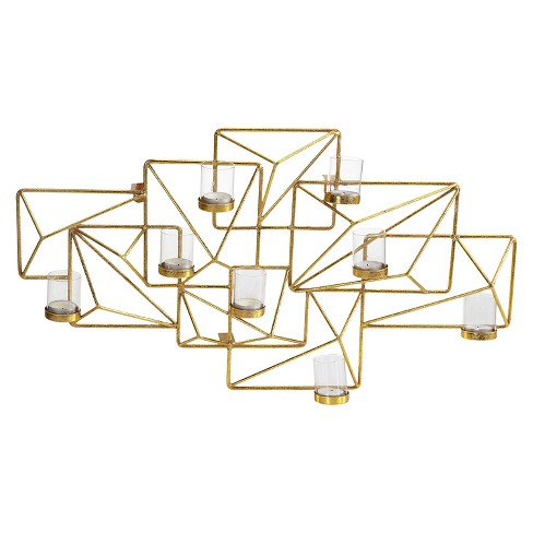 Sparkling Geometric Candle Wall Sconce Gold - Danya B® - image 1 of 2