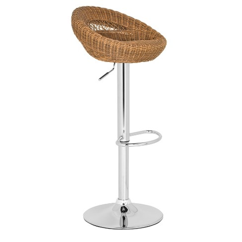Zeba Woven Adjustable Barstool Steel/Natural - Safavieh® - image 1 of 4