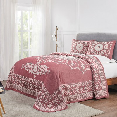 Antique Medallion Lightweight Textured Woven Jacquard Cotton Blend 3-Piece Bedspread Set, King, Berry Red - Blue Nile Mills
