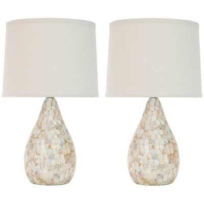 "(Set of 2)20.5"" Lauralie Ivory Capiz Shell Lamp Ivory (Includes CFL Light Bulb)- Safavieh"
