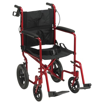 Drive Medical Lightweight Expedition Transport Wheelchair with Hand Brakes - Red