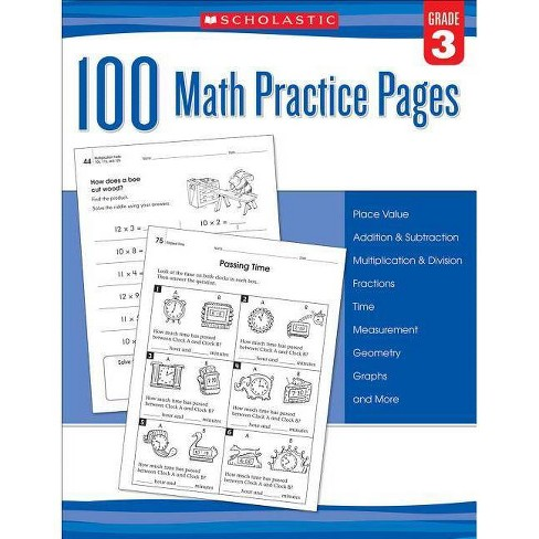 100 Math Practice Pages (Grade 3) - by  Scholastic (Paperback) - image 1 of 1