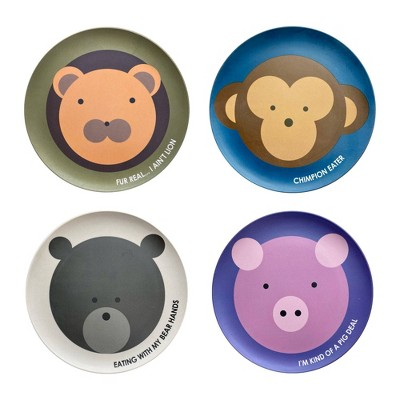 """Red Rover 7"""" 4pk Bamboo Kids' Animal Plates"""