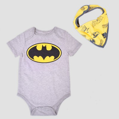 Baby Boys' DC Comics Batman 2pc Short Sleeve Bodysuit with Bib - Gray 3-6M
