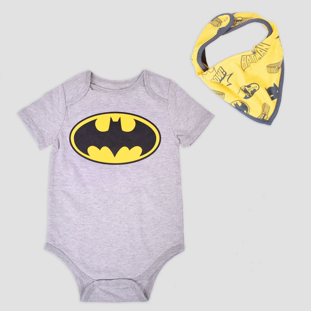 Baby Boys' DC Comics Batman 2pc Short Sleeve Bodysuit with Bib - Gray Newborn