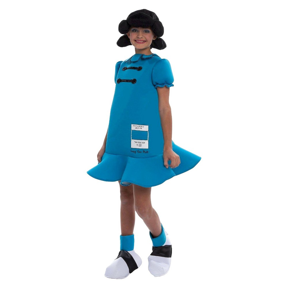 Image of Halloween Peanuts Girls' Lucy Deluxe Costume Large, Girl's, Size: Large(10-12), Blue