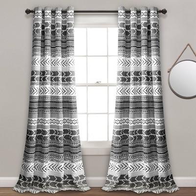 Set of 2 Hygge Geo Room Darkening Window Curtain Panels - Lush Décor
