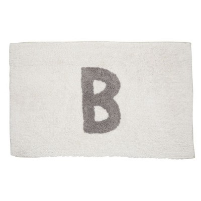 Juvale Personalized Bathroom Rugs with Letter B Initial, Cotton Bath Mat (White, 32 x 20 in)