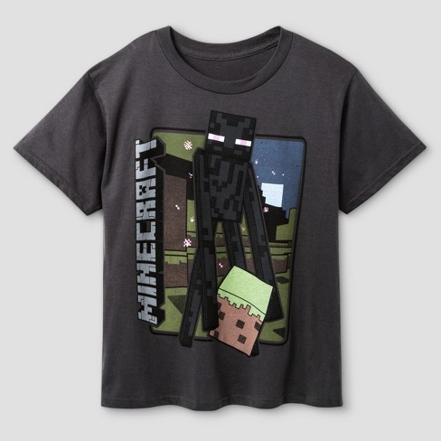 Boys' Minecraft Vintage Enderman T-Shirt - Charcoal - image 1 of 1