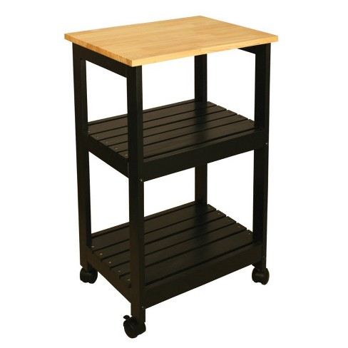 Wood Utility Kitchen Cart in Black - Catskill Craftsmen