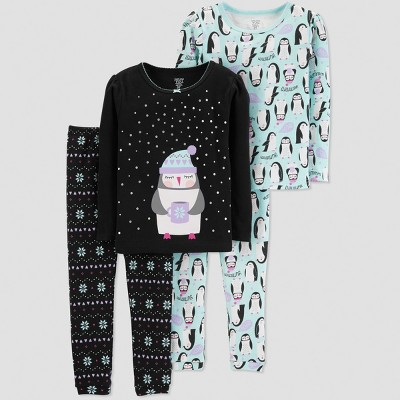 Baby Girls' Penguin 4pc Pajama Set - Just One You® made by carter's Black 12M