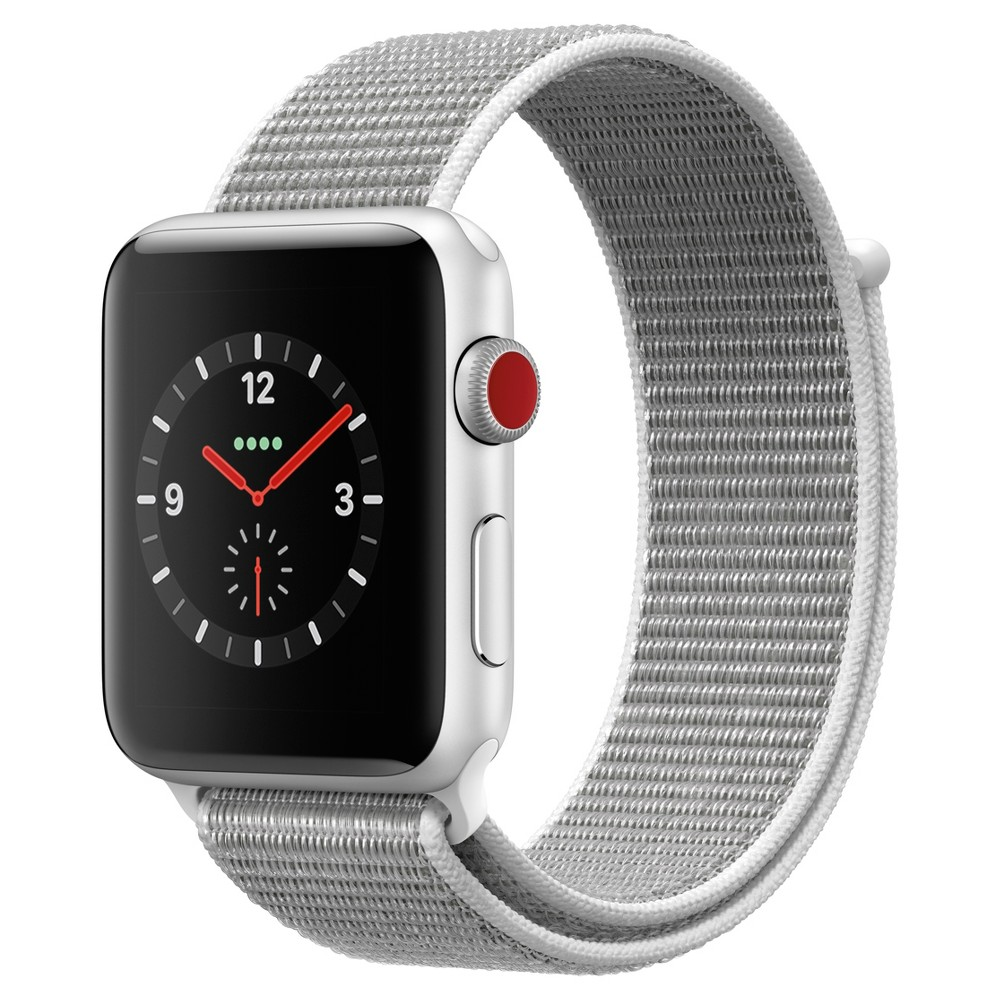 Apple Watch Series 3 42mm (Gps + Cellular) Aluminum Case Nylon Sport Loop Band - Seashell Answer a call from your surfboard. Ask Siri to send a message. Stream your favorite songs on your run. And do it all while leaving your phone behind. Introducing Apple Watch Series 3 with cellular. Now you have the freedom to go with just your watch. Color: Seashell. Material: Nylon.