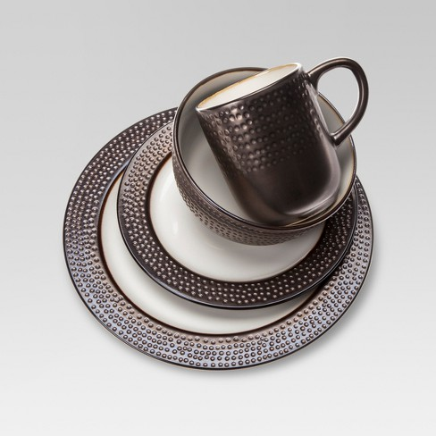 16pc Ceramic Barnet Dinnerware Set Brown - Threshold™ - image 1 of 4