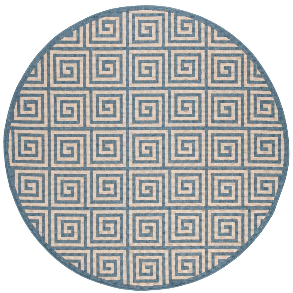 67 Round Geometric Loomed Area Rug Cream/Dark Blue - Safavieh Buy
