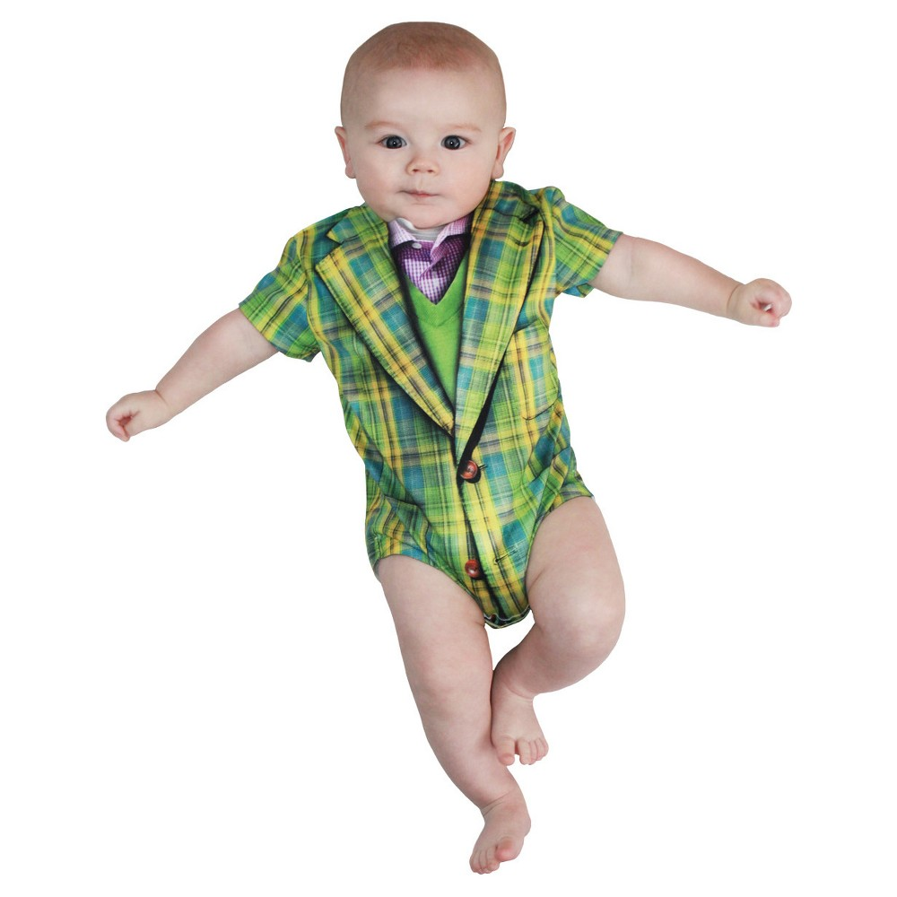 Baby Kids' Plaid Suit Romper Costume - (6-12 Months), Boy's, Size: 6-12M, Green