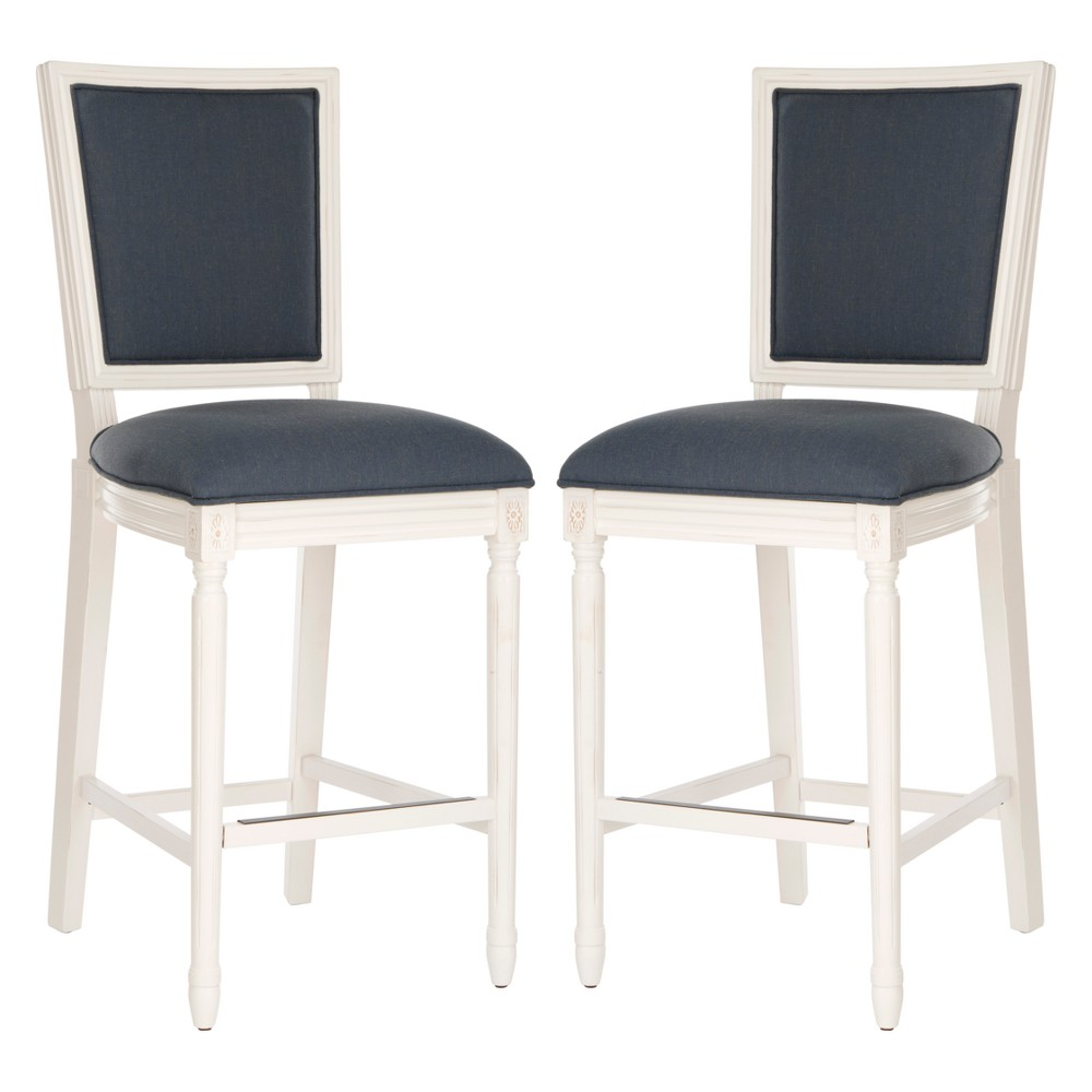 Amazing Set Of 2 Buchanan Bar Stool Navy Blue Safavieh Machost Co Dining Chair Design Ideas Machostcouk