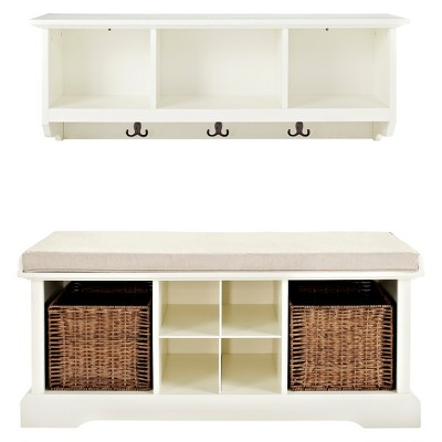 Crosley 2 Piece Brennan Entryway Bench & Shelf Set - White