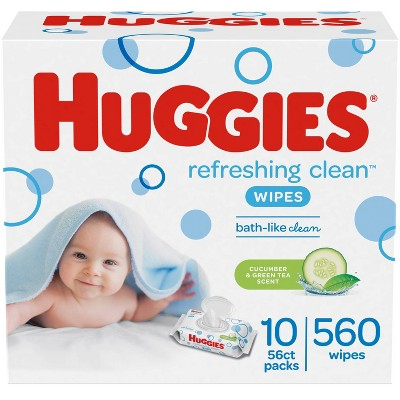 Huggies Refreshing Clean Cucumber/Green Tea Flip-top Packs Baby Wipes - 560ct