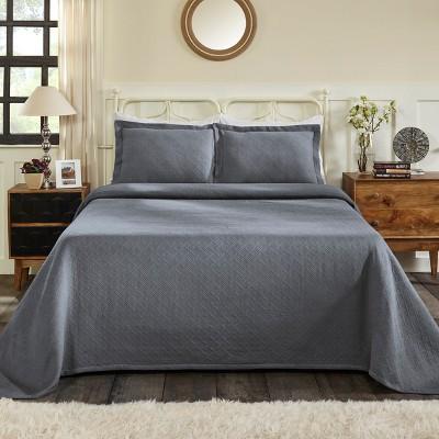 Basketweave Jacquard Matelassé Cotton Bedspread Set - Blue Nile Mills