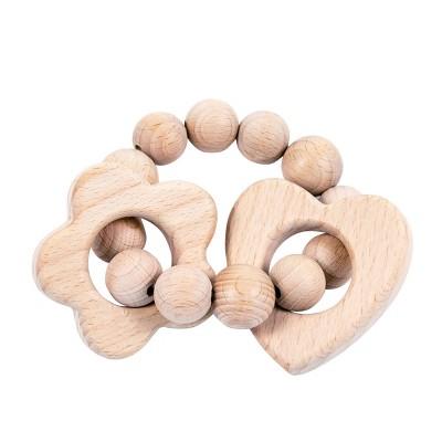 Bebe au Lait Wooden Teethers - Heart Flower