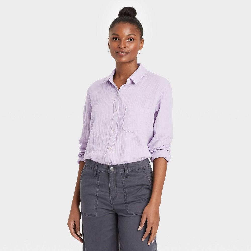 Women 39 S Long Sleeve Gauze Button Down Shirt Universal Thread 8482 Violet Xxl